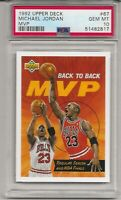 1992 UPPER DECK #67 MICHAEL JORDAN, PSA 10 GEM MINT, HOF, CHICAGO BULLS, L@@K