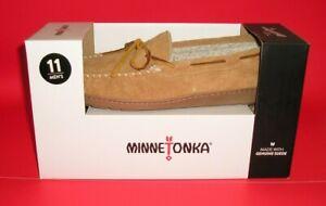 MINNETONKA - Aaron Trapper Faux Fur Lined Slipper Tan Men's Size 11 NEW