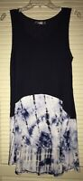 Flawless Size L Navy Blue & White Tie Dye Sleeveless Flowy Boutique Hi-Low Tunic