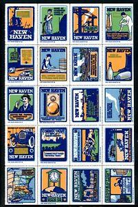 USA Poster Stamps New Haven Connecticut block 20 Automobile Corset Women Train