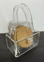 Vtg Set Of 4 Clear Acrylic/Lucite + Cork Coasters With Matching Caddy Taiwan