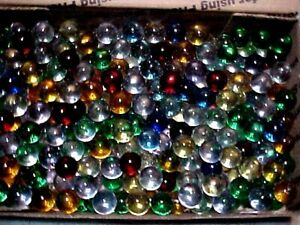 """200 CHAMPION 5/8"""" (+or -) MIXED  TRANSPARENT CLEARIE MARBLES $19.99 POSTPAID !"""