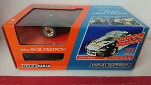 SCALEXTRIC C3709 Quick build Police Car Black & White Working Lights/Siren NEW