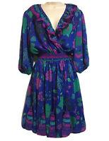 VTG 1980s WOMEN UK 10 S ARTSY BOTANICAL PRINT TEA DRESS KITSCH BLUE GREEN FAB