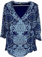 Liz Jordan Womens Blue Floral 3/4 Sleeve Lined Blouse Size XL