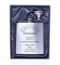 Engraved ESTABLISHED BIRTHDAY Hip Flask Gift 40th/50th/60th/65th/Dad/Grandad/Him