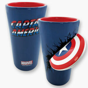 MARVEL COMICS Captain America Shield Slam Molded 16 oz. Blue Ceramic Pint Glass