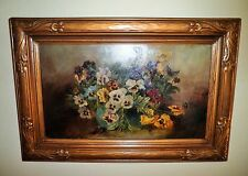 American School 19th Century Still Life Floral Design Oil Painting Thick Board