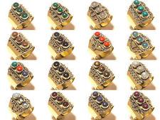 Wholesale Lot Tibetan Silver Brass Free Shipping 100Pcs Rings Gemstone Jewelry