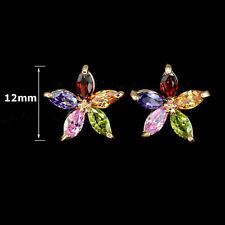 Rose Gold Plated Multi Color CZ Flower Earrings