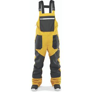 Snowboard Ski Mens Large Bib Pants Black Gold Thirty Two Basement Bib 2021