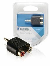 Konig 3.5mm audio adapter 3.5mm male to 2x RCA female x1 grey