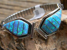 Spectacular sterling silver Navajo ladies watch band 12 blue fire opals