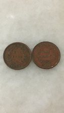 (JC) 2 pcs Sarawak 1 (One) cent Rajah CV Brooke 1927 H - VF (B)