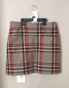 Womens Sz 8P H&M Skirt  Plaid Tan Black Red Pockets #VB