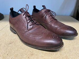 Cole Haan C31356 Sz 12 M Mens Burgundy Oxfords Lace Ups Wingtip Shoes B10