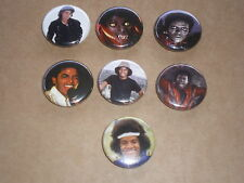 michael jackson (usa) lot de 7 badges (no cd & lp ) diametre 2,5 cm