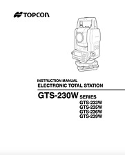 Topcon Electronic Total Station Instruction Manual Gts 230w Series