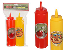 4 x Ketchup & Senfspender Saucenflasche Quetschflaschen Spenderflasche rot gelb