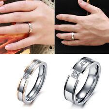 Women Men Crystal Engagement Elegant MY_LOVE Couple Ring Stainless Steel Band