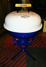 "CORONA EXTRA SILVER ONE-TOUCH 14"" INCH CHARCOAL BBQ GRILL, BLUE WITH CREAM"