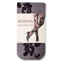 8381b5310a60bc New Merona Burlesque Pinup Goth Black Floral Scroll Back Design Tights 1x