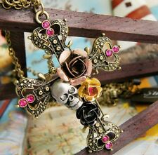 Chic Fashion Bronze Crystal Cross Flower Skull Pendant Sweater Chain Necklace