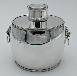 FINE GEORGIAN STYLE SILVER PLATED LION MASK TEA CADDY 19TH CENTURY