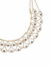 NEW NWT ACCESSORIZE EVELYN ART DECO SILVER CRYSTAL SPARKLE NECKLACE CHAIN
