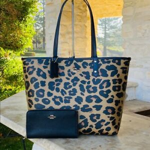 NWT Coach leopard Reversible City tote wallet options brown/black Animal Print