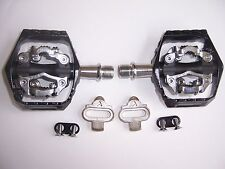PEDALS with CLEATS ORIGIN8 ULTIM8 MTB  DOUBLE CLIPLESS  9/16 BK/GY