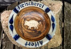 großer runder Aschenbecher Fleischerei Alfert Keramik glasiert 21 cm