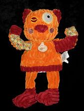 Doudou Marionnette Patchwork orange bordeaux Babynat' Baby Nat' BN683 velours