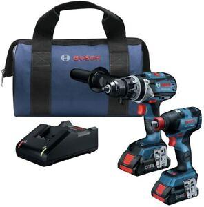 """Bosch GXL18V-224B25 18V Brushless 1/2"""" Hammer Drill, 1/2""""-1/4"""" Impact Driver Kit"""