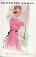 Vintage postcard Blackpool 'The Out-Door Girl' Lady Hat colour bands JE.1804