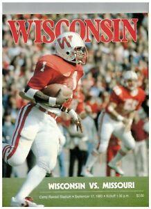 1983 Wisconsin Badgers Football vs Missouri Football Vintage Program (JS)