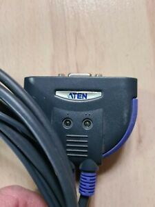 ATEN  KVM-Switch mit Kabel 1,2 m, CS62 - 2-Port-PS/2-VGA Umschalter