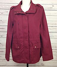 86170d9365bc3 Love Tree Womens Burgundy Jacket Drawstring Zipper Snap Pockets Plus Size 1X