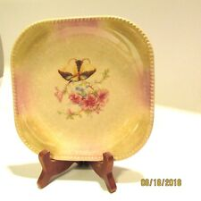 Antique Square Plate Bird and Flowers