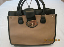 Women Fashion Bag - Beige Leather Tote/Purse/Retro Messenger Bag
