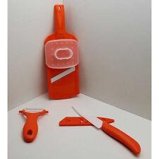 Keramikmesser SET 3 tlg., Kunststoffgriffe, Keramik Küchen Messer Schäler Reibe
