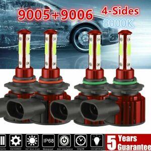 4-Side Combo 9005+9006 LED High Low Beam Headlight Kit Bulb 8000K Blue