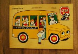 Vintage Fisher Price Wooden Puzzle School Bus Peg Puzzle