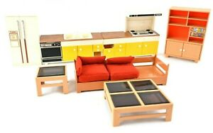 RARE Vintage Tomy Dollhouse Furniture Stove Sink Refrigerator TV Stand Chair Lot