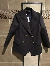 NWT Zara Woman Double Breasted Button Front Blazer Peacoat Wool Navy Sz M