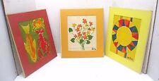 Lot of 3 VERA - Vera Wang Matted Prints On Cloth - Flowers, Circle Wheel, & Fish