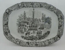 "VICTORIA WARE PLATTER Ironstone Black and White 19"" Large Serving Antique"