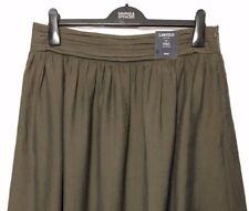 M&S Ladies Skirt Khaki Green Crinkle Aline Midi 14 BNWT Marks Limited