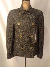 NWT Alexander McQueen Woman Wool Tweed Double Breasted Pea Coat Jacket Size 46
