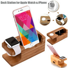 Bamboo Charging Dock Station Charger Mount Stand F Apple Watch iPhone 6 7 8 Plus